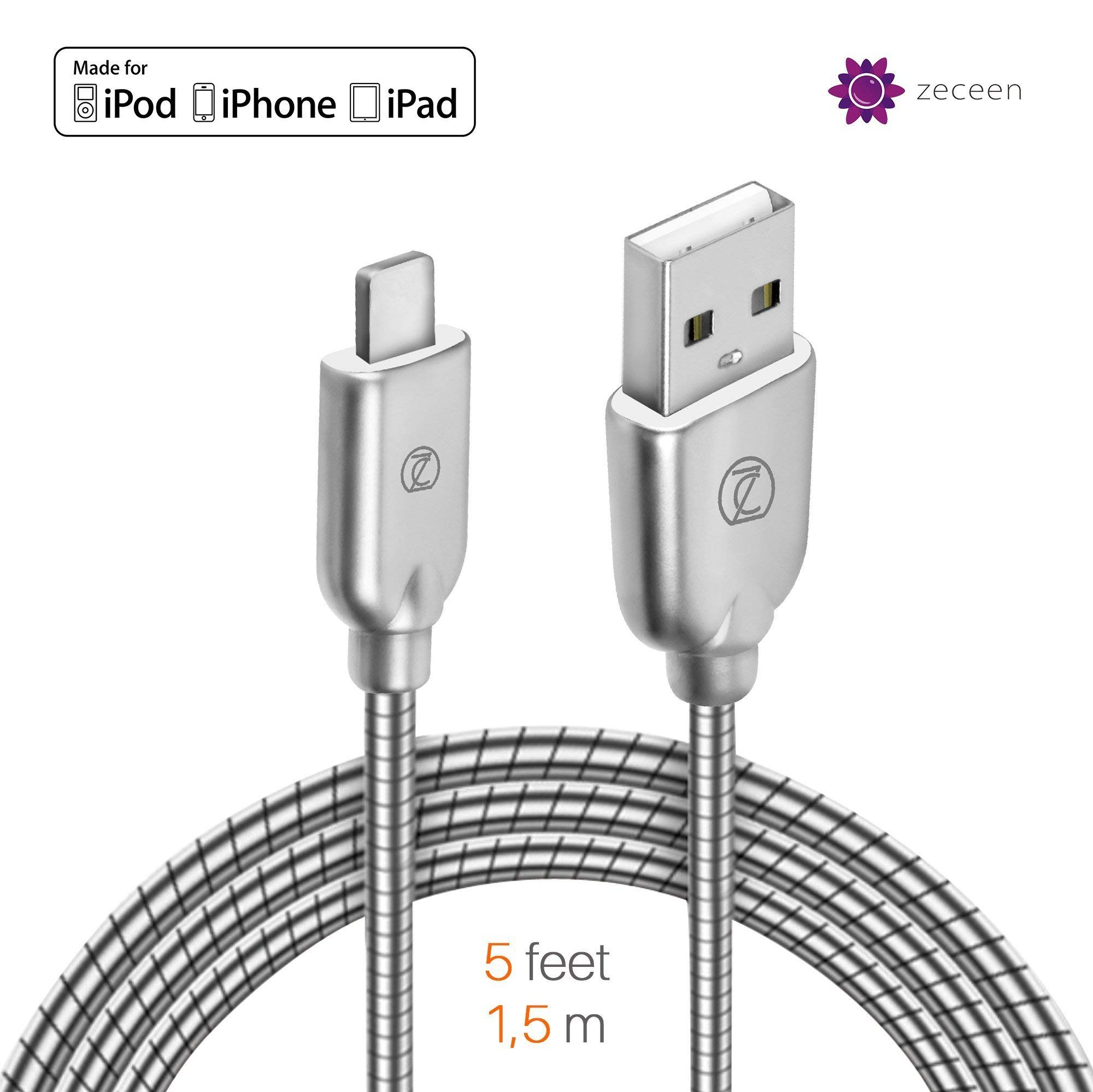 ZECEEN Metal USB Lightning Cable – Fast Charging & Data Transfer Cord (5 ft) – Almost Unbreakable – Bending & Weather Resistant – Compatible with iPhone X/8/7/6s/6/5s/5/SE, iPad Pro/Air/Mini