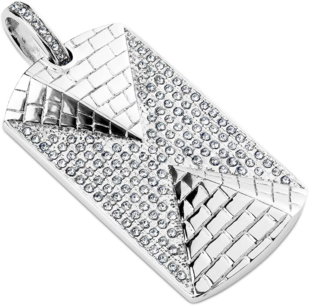 3D Pyramid Against Gem Paved Background Stainless Steel Pendant