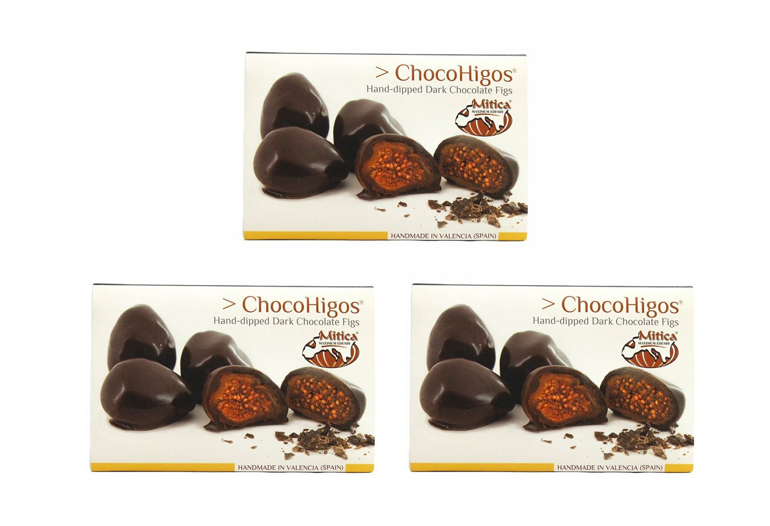 ChocoHigos - Hand-dipped Dark Chocolate Figs - 1 container, 4.9 oz (Pack of 3)