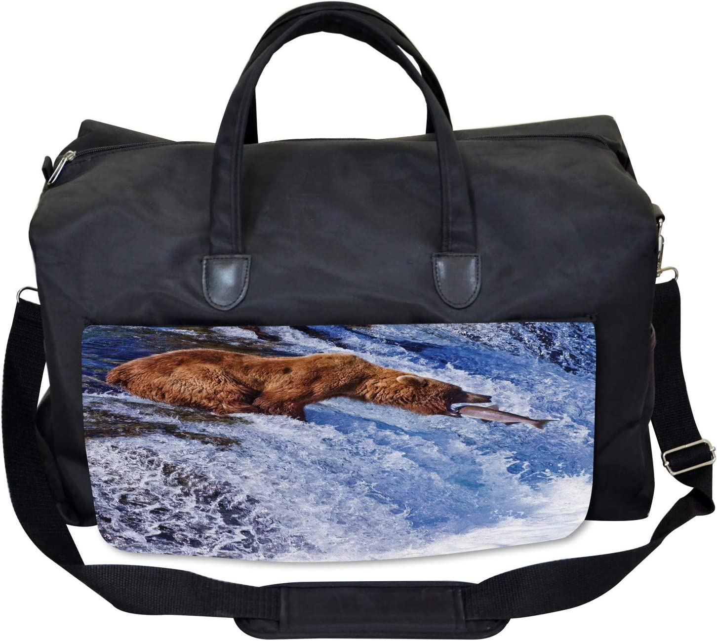 Grizzly Bear at Katmai Large Weekender Carry-on Ambesonne Nature Gym Bag