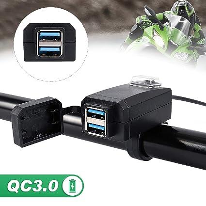Motocicleta Conector USB Doble Impermeable QC 3.0 Cargador Rápido Doble Toma de Corriente 12V-24V