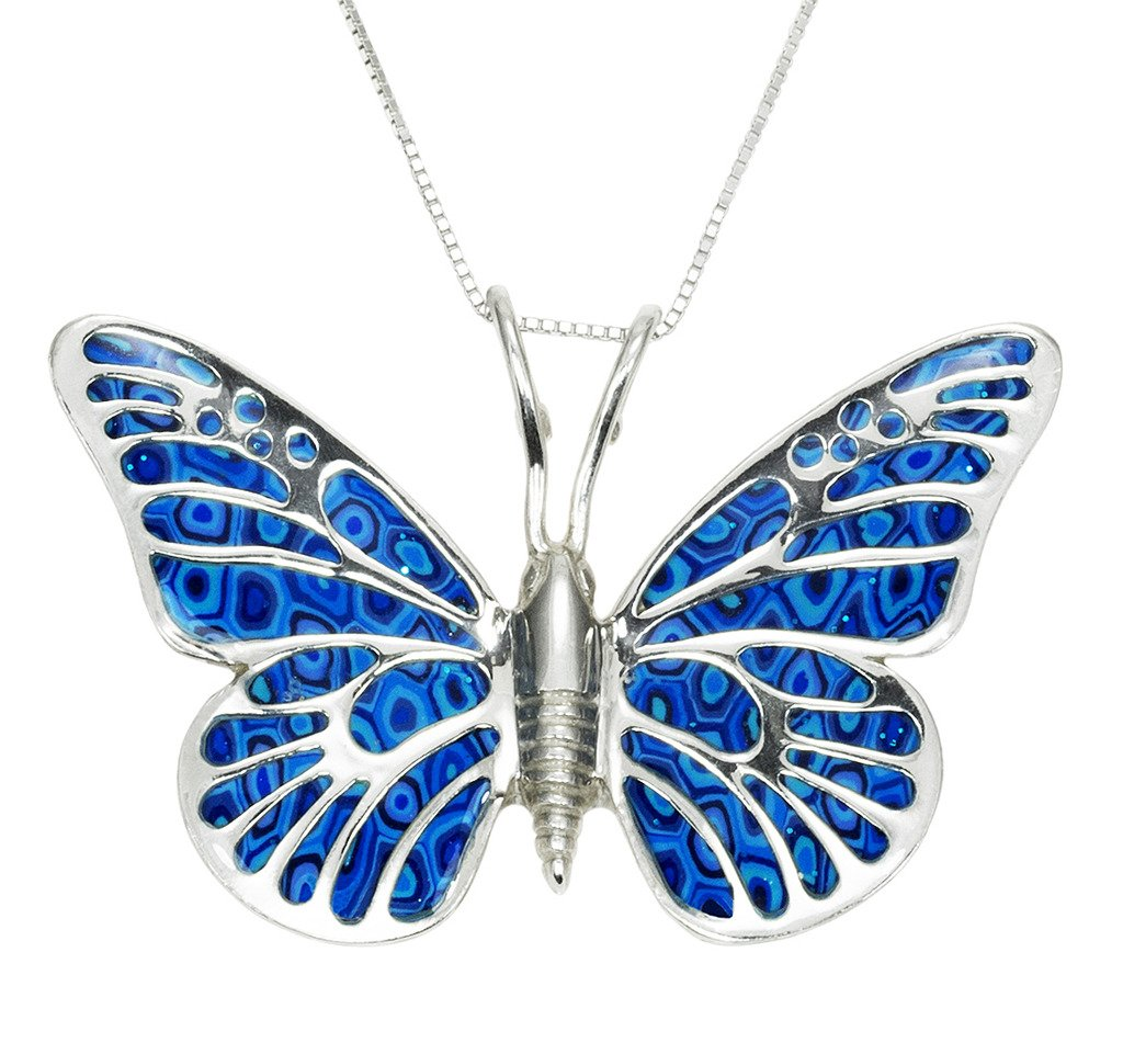 925 Sterling Silver Butterfly Necklace Pendant Blue Polymer Clay Millefiori Handmade Jewelry, 16.5''