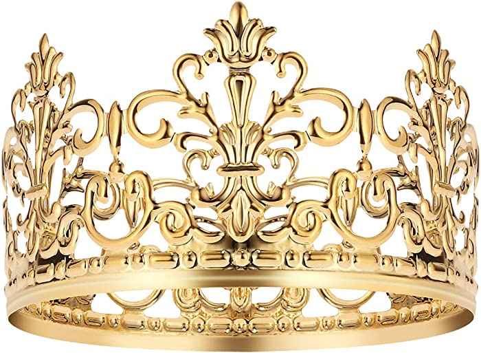 BESTonZON Gold Crown Elegant Cake Topper Queen Princess Cake Photo Party Themed Parties Baby Decor