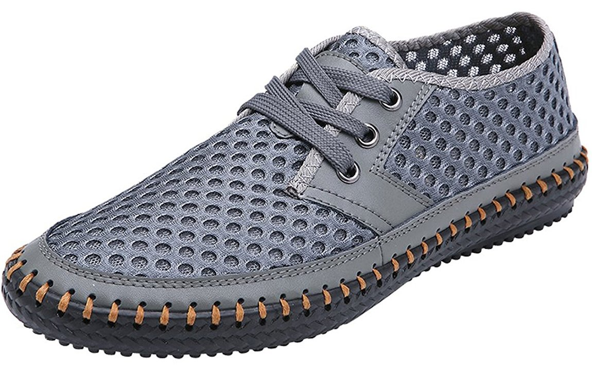 Forucreate Men's Stylish Casual Breathable Mesh lace Up Shoes Summer Beach Water Aqua Pool Shoes(Gray 40)
