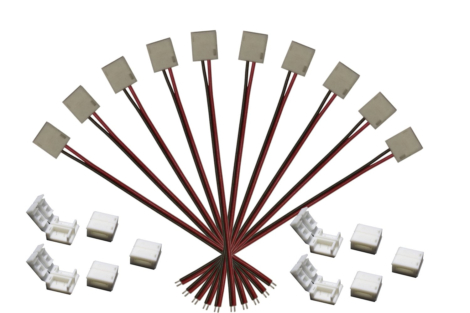 Alightings 2 Pin 8mm LED Strip Connector Kits for Outdoor Silicone Covered Strips Light Double-sided PCB 3528 2835 3014 Single Color Lights , Contains 10pcs Gapless, 10pcs Jumper Wire Connectors