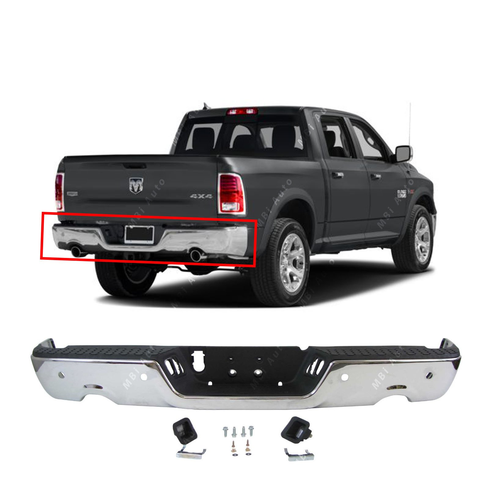 MBI AUTO - Steel Chrome, Complete Rear Step Bumper Assembly for 2009-2018 Dodge RAM 1500 W/Park 09-18, CH1103119