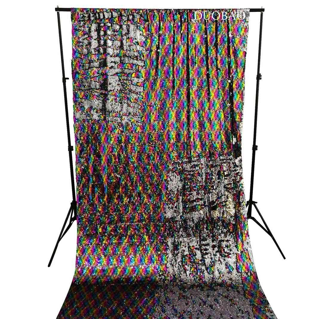 DUOBAO Sequin Backdrop Rainbow to Silver 6FTx8FT Glitter Backdrop Mermaid Silver Sequin Curtains Photo Booth backdrop-0610H