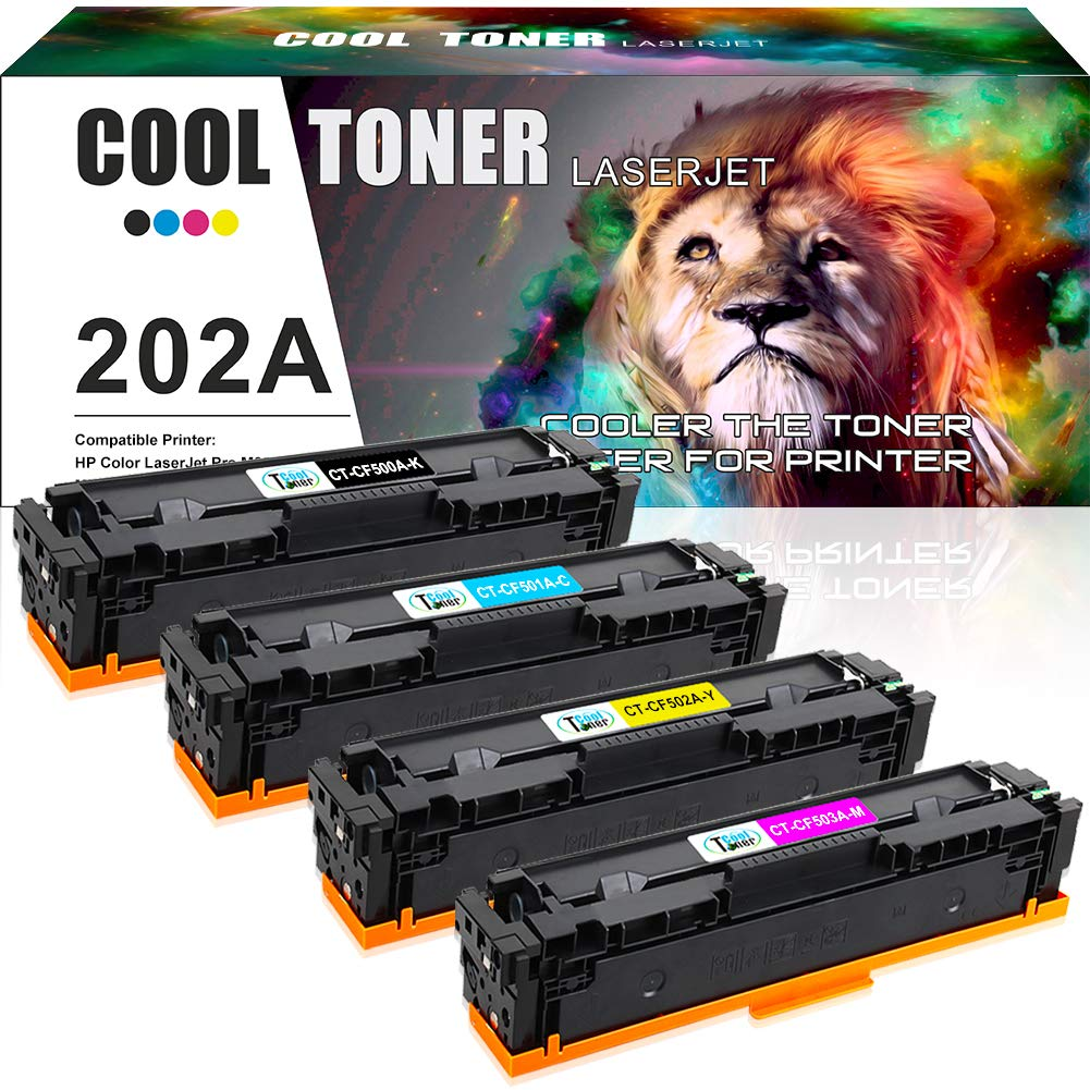 Cool Toner Compatible Toner Cartridge Replacement for HP CF500A 202A ( Black, Cyan, Yellow, Magenta , 4 pk )
