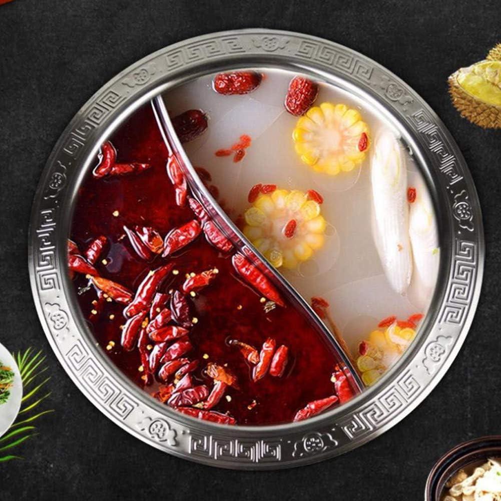 Hot Pot Divis/é Extra /Épais 2 Grille 2 Go/ût 28cm Cuisine en Acier Inoxydable Casserole Soupe Outil De Cuisson pour Induction Cooker Pot /À Fondue Chinoise