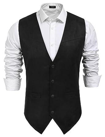 32a4b02ddbdb Coofandy Men's Slim Leather Vest Suede Vest Single-Breasted Vest, Black,  Small
