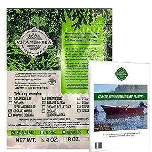 VITAMINSEA Organic Kombu Whole Leaf - 4 OZ - Raw Atlantic Seaweed Vegan Certified - W/ Recipe Ebook (KW4EB)