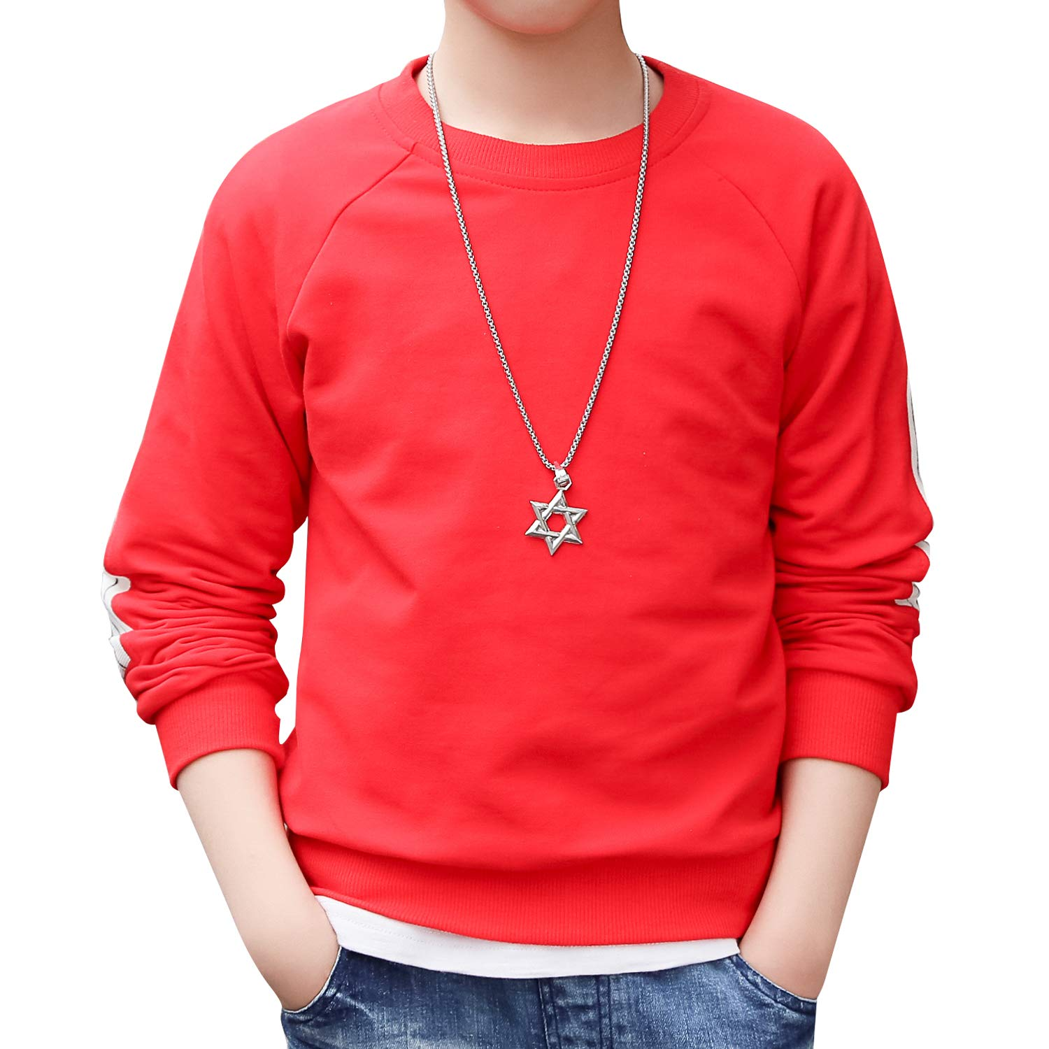 BYCR Boys' Casual Cotton Sweatshirt Pullover Long Sleeve Round Neck Tops for Kids