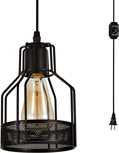 HMVPL Industrial Pendant Light with 16.4 Ft Plug in Cord and On Off Dimmer Switch, Vintage Cage Swag Hanging Ceiling Lamps for Kitchen Island Dining Room or Living Room, Painted Finish