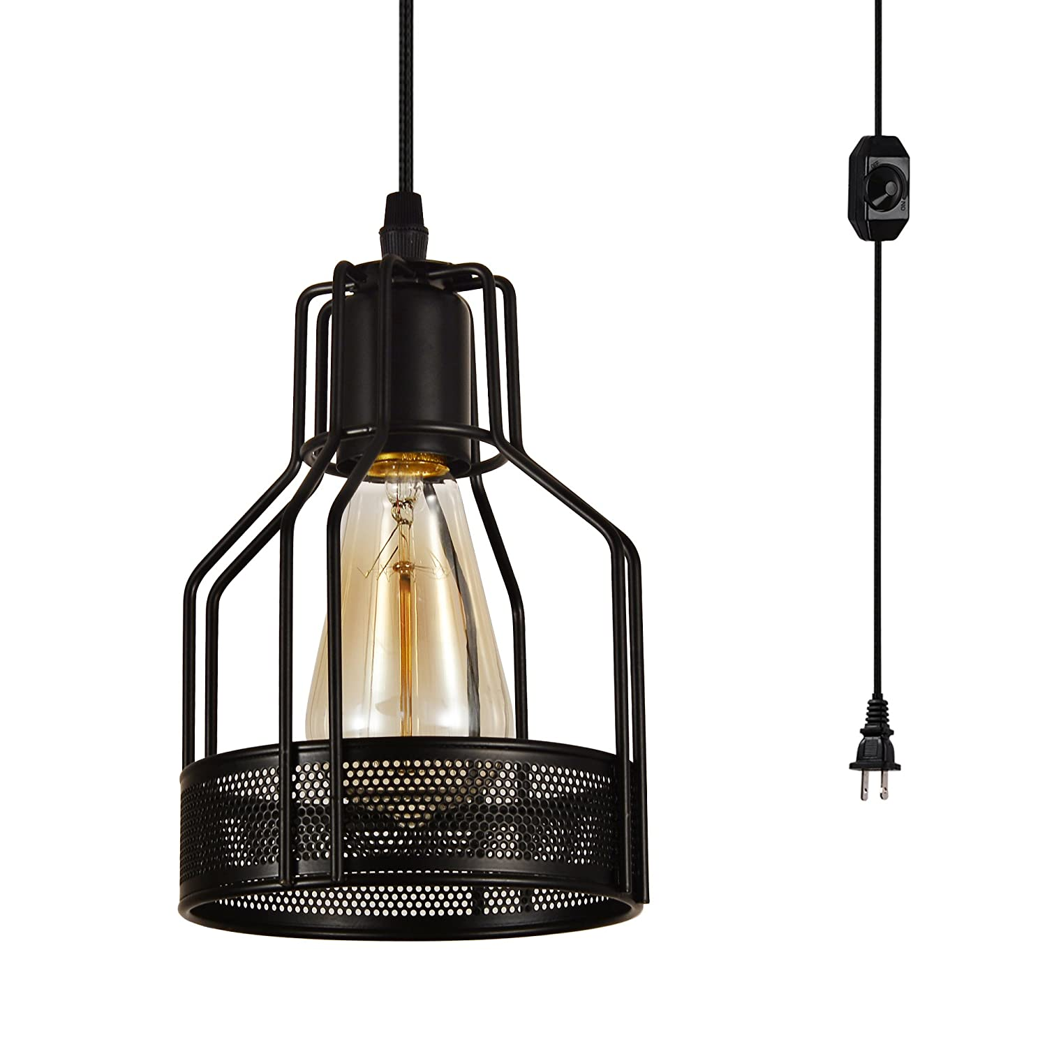 HMVPL Industrial Pendant Light with 16.4 Ft Plug in Cord and On/Off Dimmer Switch, Vintage Cage Swag Hanging Ceiling Lamps for Kitchen Island Dining Room or Living Room, Painted Finish