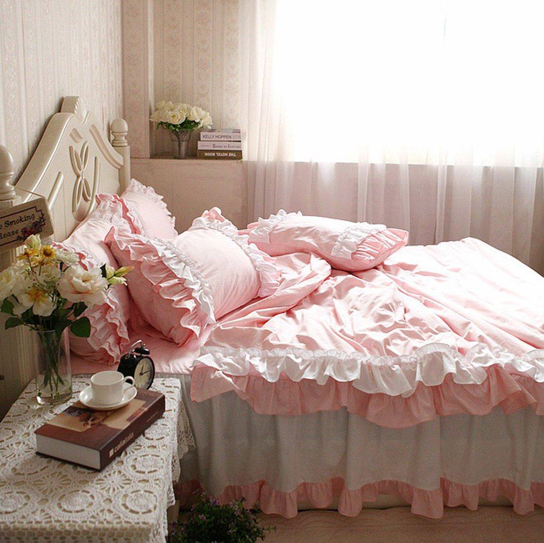 寝具カバーセット 【ようこそ、姫様の世界へ!】綿100%ピンクとホワイトの組み合わせ寝具カバーセット (クイーン) B00L2AOS0K クイーン クイーン