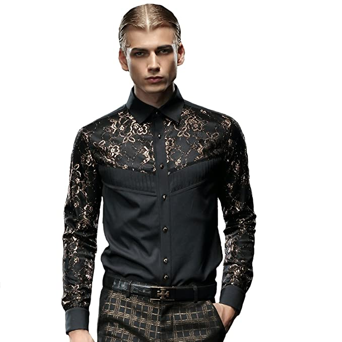 6c843d51 FANZHUAN Mens Fashion Clothing Shirts Black Shirts for Men Slim Fit Design Shirt  Amazon Fashion Men