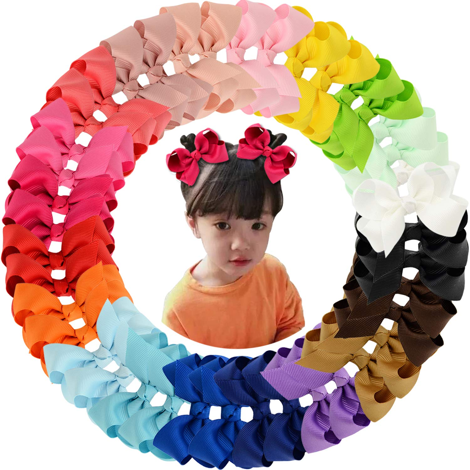 40pcs 3'' Grosgrain Ribbon Hair Bow Alligator Clips Hair Accessories for Baby Girls Infants Toddler Teens Kids 20 Colors in Pairs