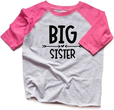 Toddler//Kids Raglan T-Shirt Little Girl I Love My Big Sister This Much