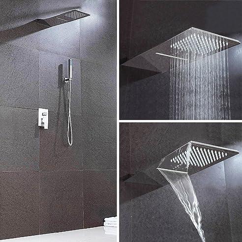kaibor groe unterputz duschpaneel wasserfall regendusche duschkopf kopfbrause brausegarnitur komplettset mit handbrause chorm - Wasserfall Regendusche