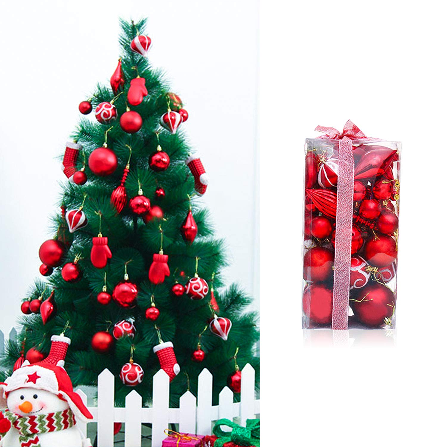 MOOSENG 50-Pack Assorted Shatterproof Christmas Ball Ornaments Set Decorative Baubles Pendants with Premium Gift Wrapping Ribbon for Xmas Tree Gold