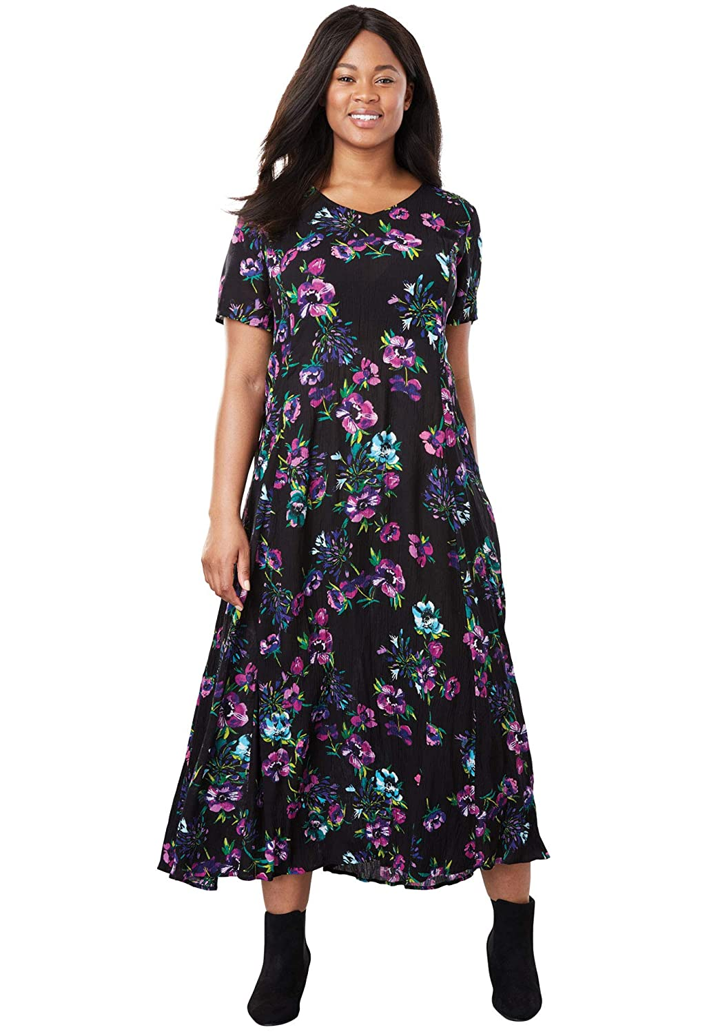 3b21751f32e Woman Within Women's Plus Size Crinkle Dress at Amazon Women's Clothing  store: