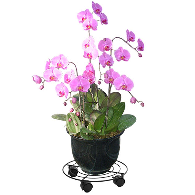 Matte black paint metal garden style flower shelf flower rack turntable (31 31 6cm)