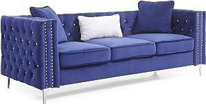 "Glory Furniture Paige Sofa, Blue. Living Room Furniture, 30"" H x 86"" W x 34"" D"