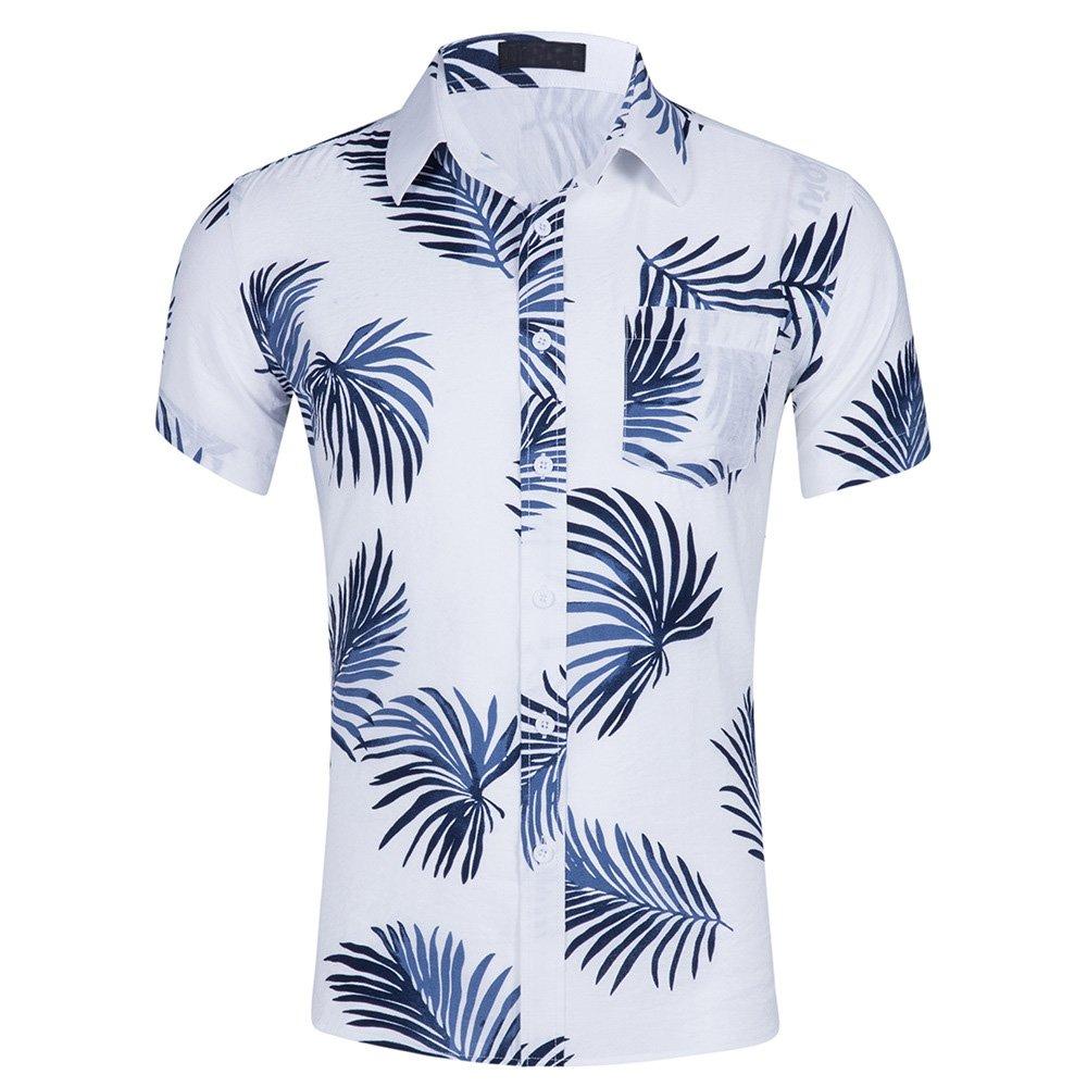 CATERTO Men's Tropical Short Sleeve Floral Print Beach Aloha Hawaiian ShirtPrint3 XL