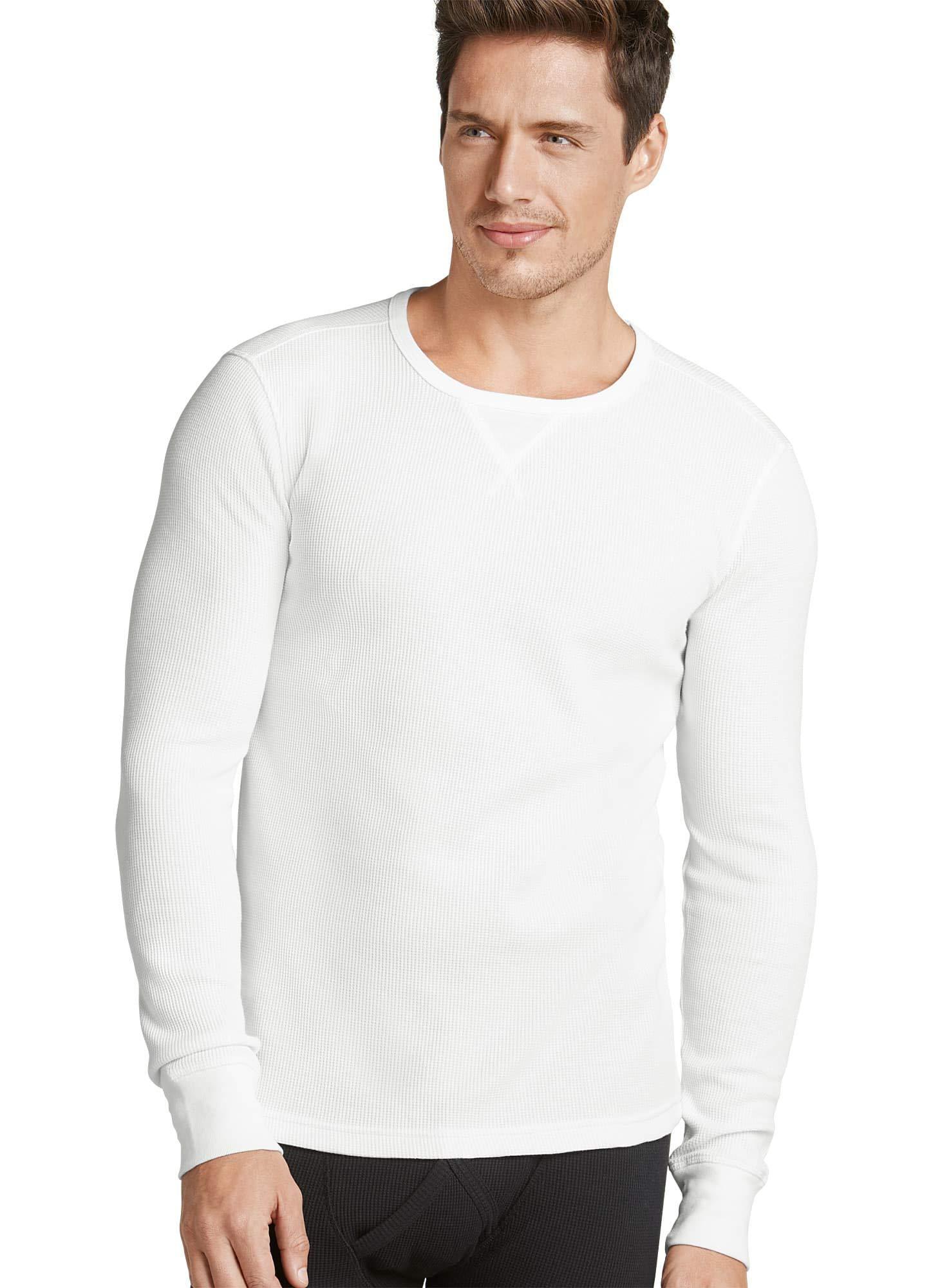 Jockey Men's T-Shirts Long Sleeve Waffle Crew, White, XL by Jockey