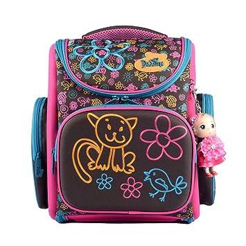 économiser 9357a c9dc6 Delune Sac à Dos Ergonomique Enfant Sac Cartable Fille Primaire Sac d'école  Mignon School Bag Backpack pour Sac Cadeau Filles Rentreé Scolaire ...