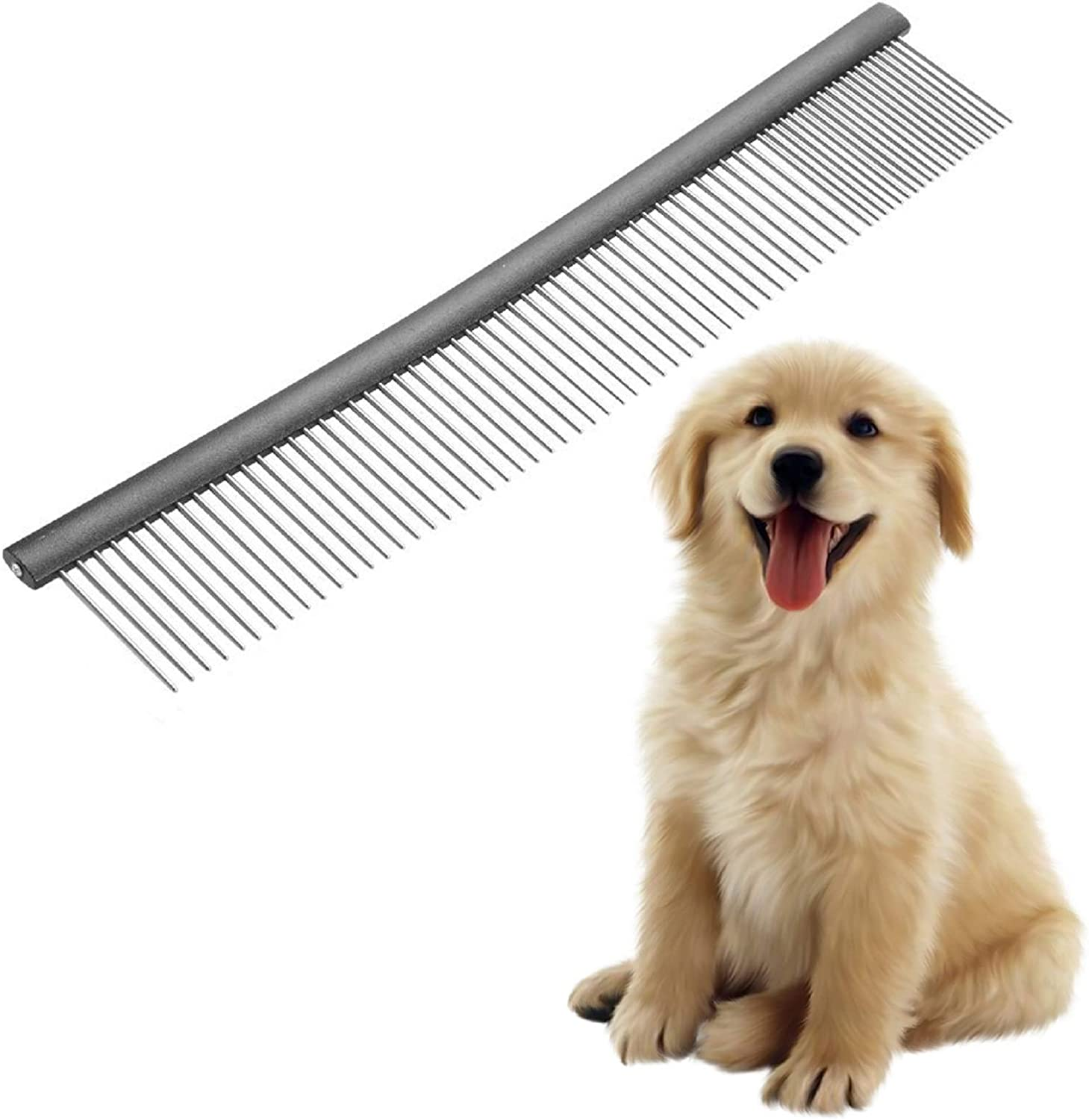 MASTERPETZ Pet Comb, 10 inches Comfortable Grooming Comb with Different-Spaced Rounded Stainless Steel Teeth, Easy Grip and Convenient Grooming for Pets Dog Cat with Medium Coarse Fur