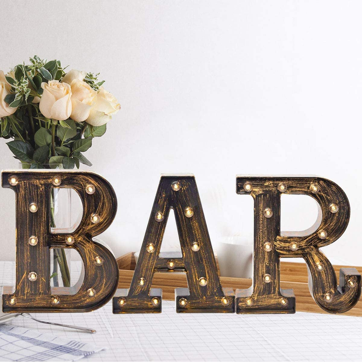Oycbuzo Golden Black Led Marquee Letter Vintage Style Light Up Alphabet Letter Sign for Cafe Wedding Birthday Party Christmas Lamp Home Bar Initials Decor Industrial