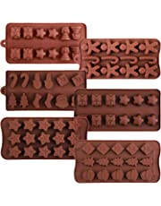 Maxdot 6 Pieces Christmas Silicone Chocolate Mold Cake Cookie Mould Candy Baking Mold for Chocolate Cake DIY (Style Set 1)