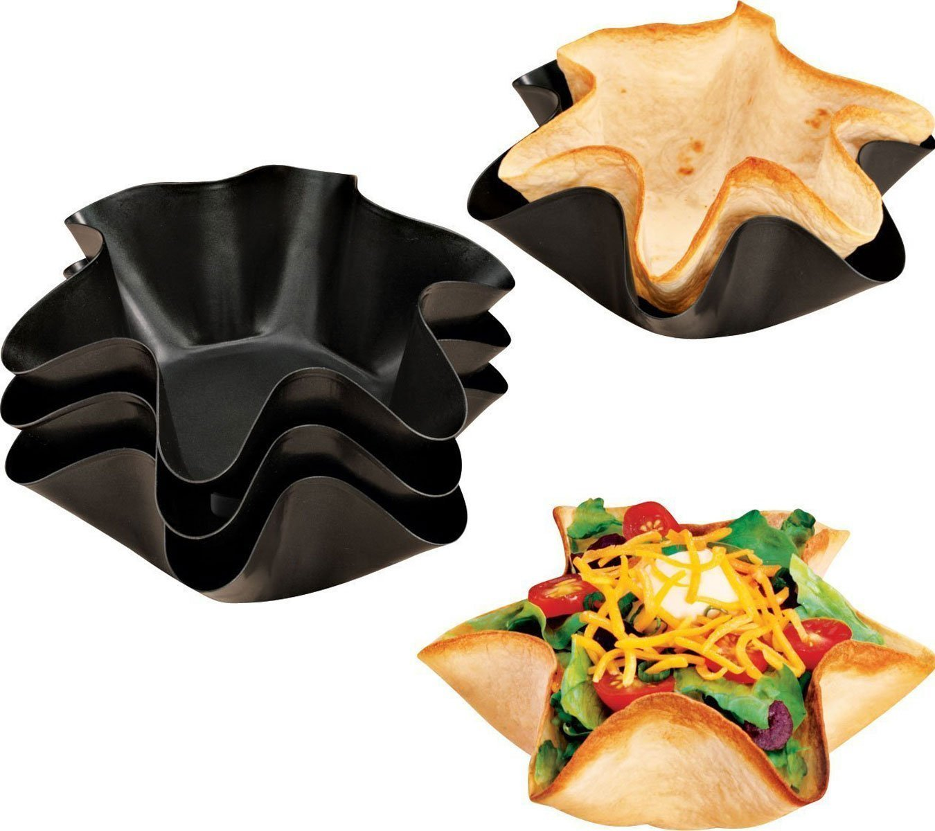 セットの4 Pans, Quick & Easy Tortilla Shell Makers, as well as Taco Bowlsメーカー。食器洗い機セーフ。 B07DC139P6