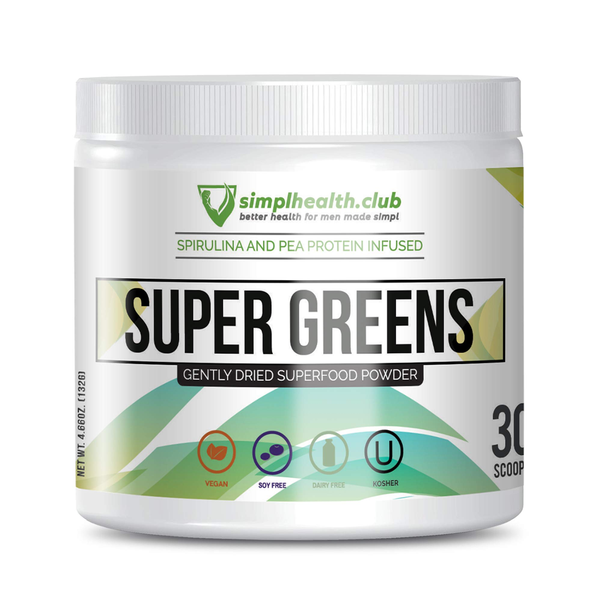 SimplHealth.Club Super Greens Powder for Men | Vegan & Nutrient-Dense Daily Supplement with Ashwagandha, Spirulina, and More | No Fillers & No Artificial Ingredients