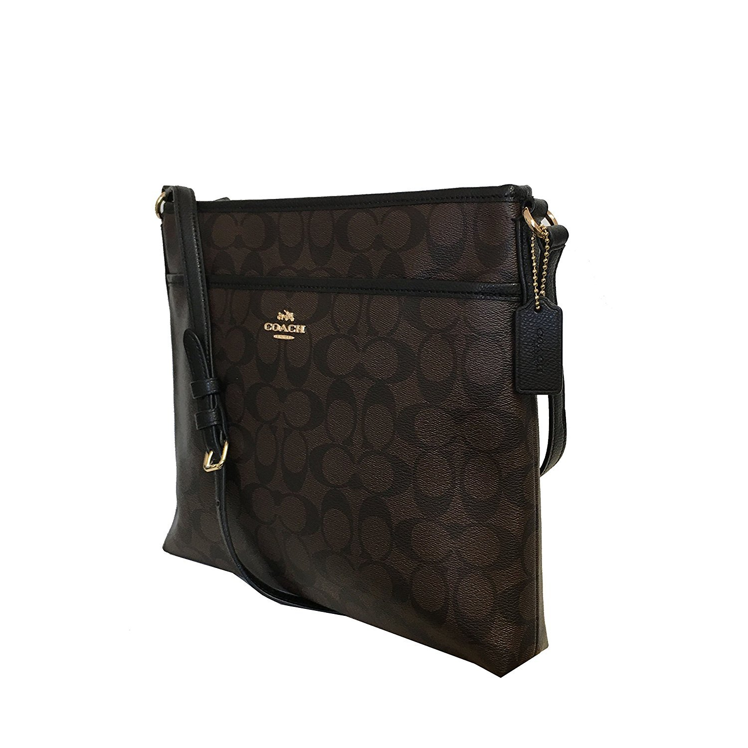 Coach Signature Coated Canvas File Bag in Brown & Black: Handbags:  Amazon.com
