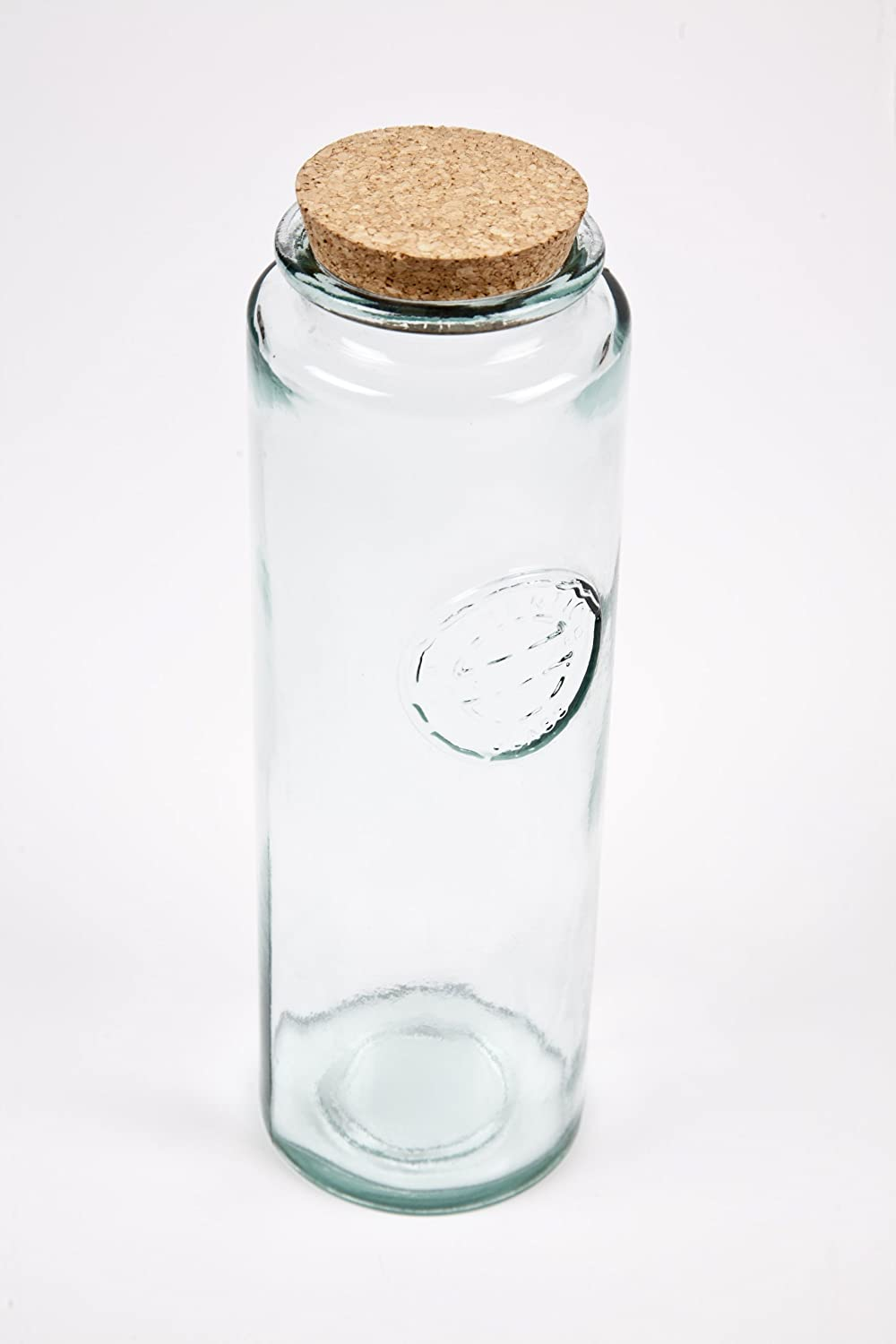 100% recycled glass 30cm high spagetti jar with 'Authentic' stamp in relief San Miguel