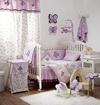Amazon Com Butterfly Purple Crib Baby Girl Bedding Sets Crib