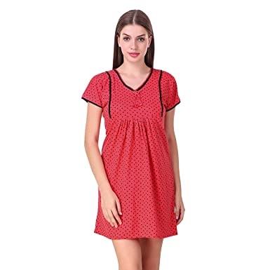 bd6510ba2a583 MILIT Women's Cotton Short Feeding Nighty with 2 Sided Zipper (MI1806FS,  Red, Large