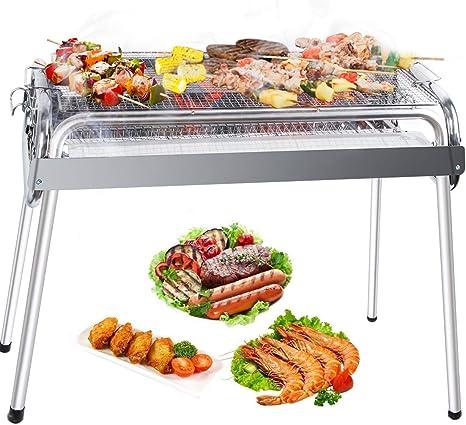 Mbuynow-Barbacoa portátil de Acero Inoxidable, ahumador de carbón de Acero Inoxidable, Parrilla Plegable para 6-9 Personas,jardín Familiar,cocinar al ...