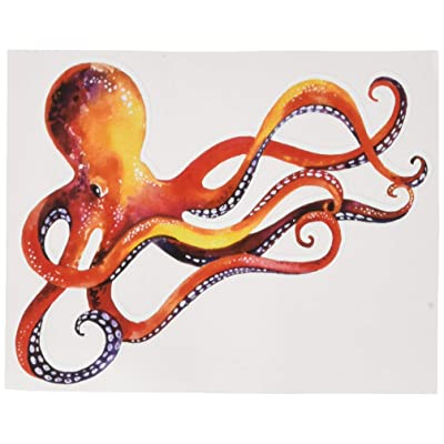 "Divine Designs Orange Red Dancing Watercolor Paint Octopus Vinyl Decal Sticker (4"" Wide): Automotive"