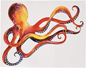 "Divine Designs Orange Red Dancing Watercolor Paint Octopus Vinyl Decal Sticker (4"" Wide)"