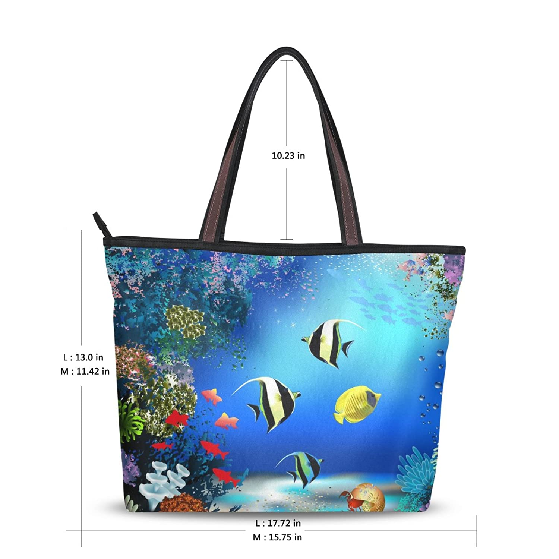 MRMIAN Women's Ladies Tote Shoulder Bag Beautiful Beach Sea Coral Blue Unique Bulk Fashion