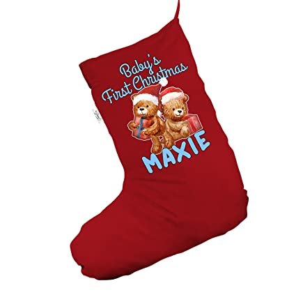 teddy babys first christmas personalised jumbo red christmas stocking