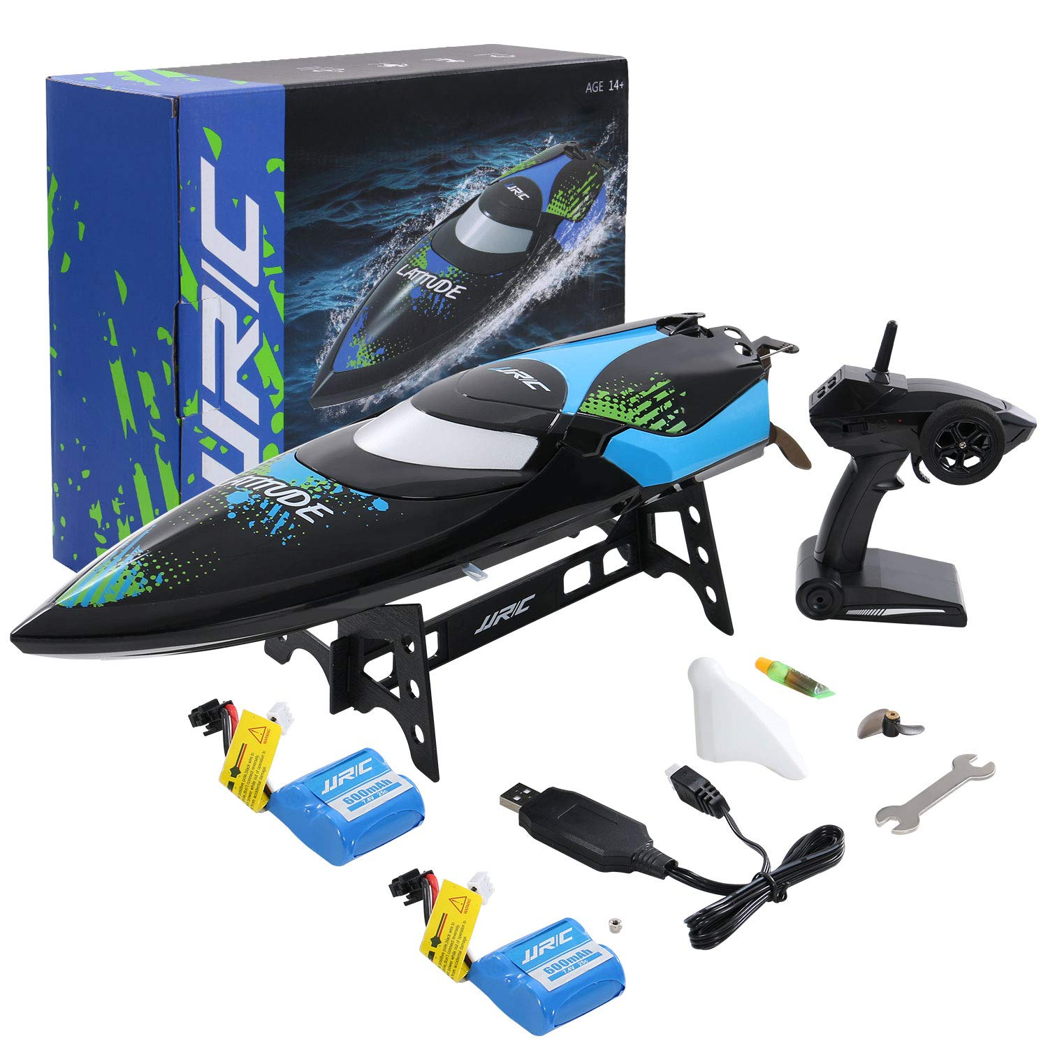 ANTAPRCIS 25km/h RC Boat, 2.4GHz 180° Flip Remote Control Race Boat for Pool Lake Boy Adult, Black by ANTAPRCIS (Image #7)