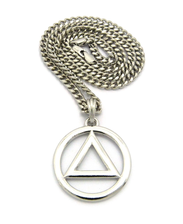 "Fashion 21 Silver - Tone Plain Circle Triangle Pendant 5mm 24"" Cuban Chain Necklace XSP436RCC"