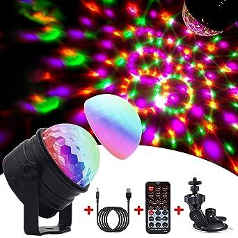 Luces estilo bola de disco con 6 colores con modo de luz de humor + Cable de carga para cumpleaños y fiestas.