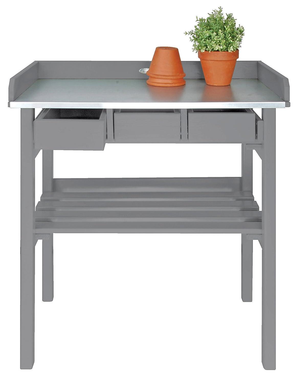 Esschert Design Pflanztisch, Gartentisch in grau, ca. 79 cm x 38 cm x 82 cm
