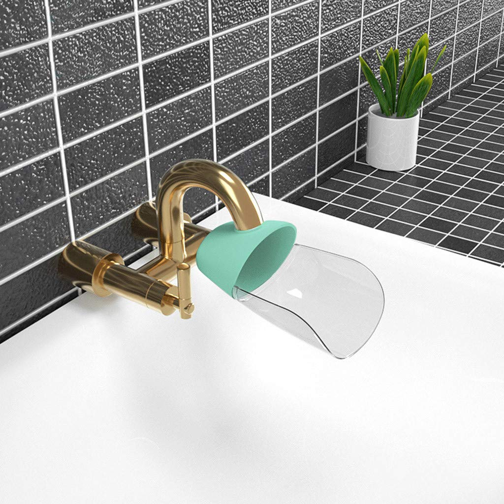 Pulison Water Spout & Faucet Extender for Kitchen and Bathroom Sinks Toddlers, Kids. Safe, Fun, and Easy Hand Washing Solution for Children (Green)