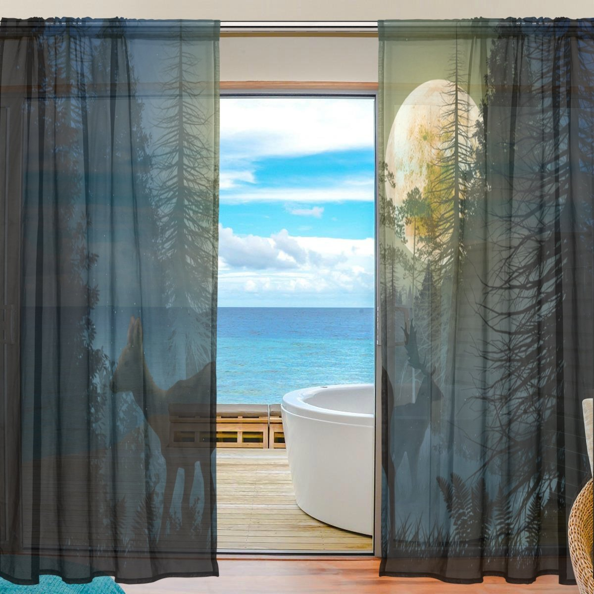 SEULIFE Window Sheer Curtain, Animal Deer Giraffe Forest Tree Moon Voile Curtain Drapes for Door Kitchen Living Room Bedroom 55x78 inches 2 Panels by SEULIFE